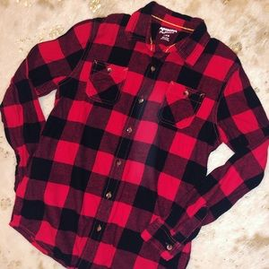 Girl's 14/16 Buffalo Plaid Button up Flannel Top